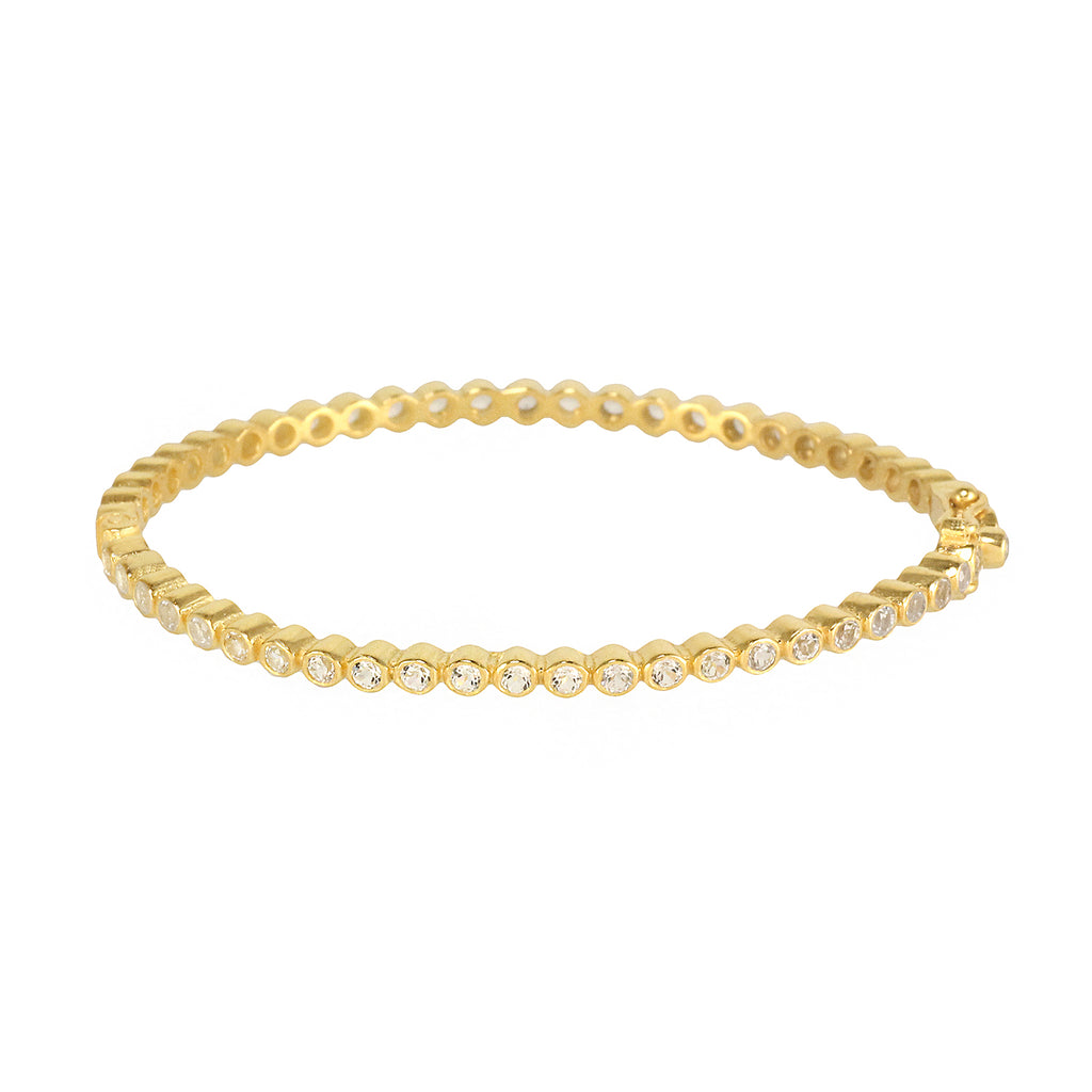 Silver gold plated thin bracelet bangle with white topaz stone, made in India
