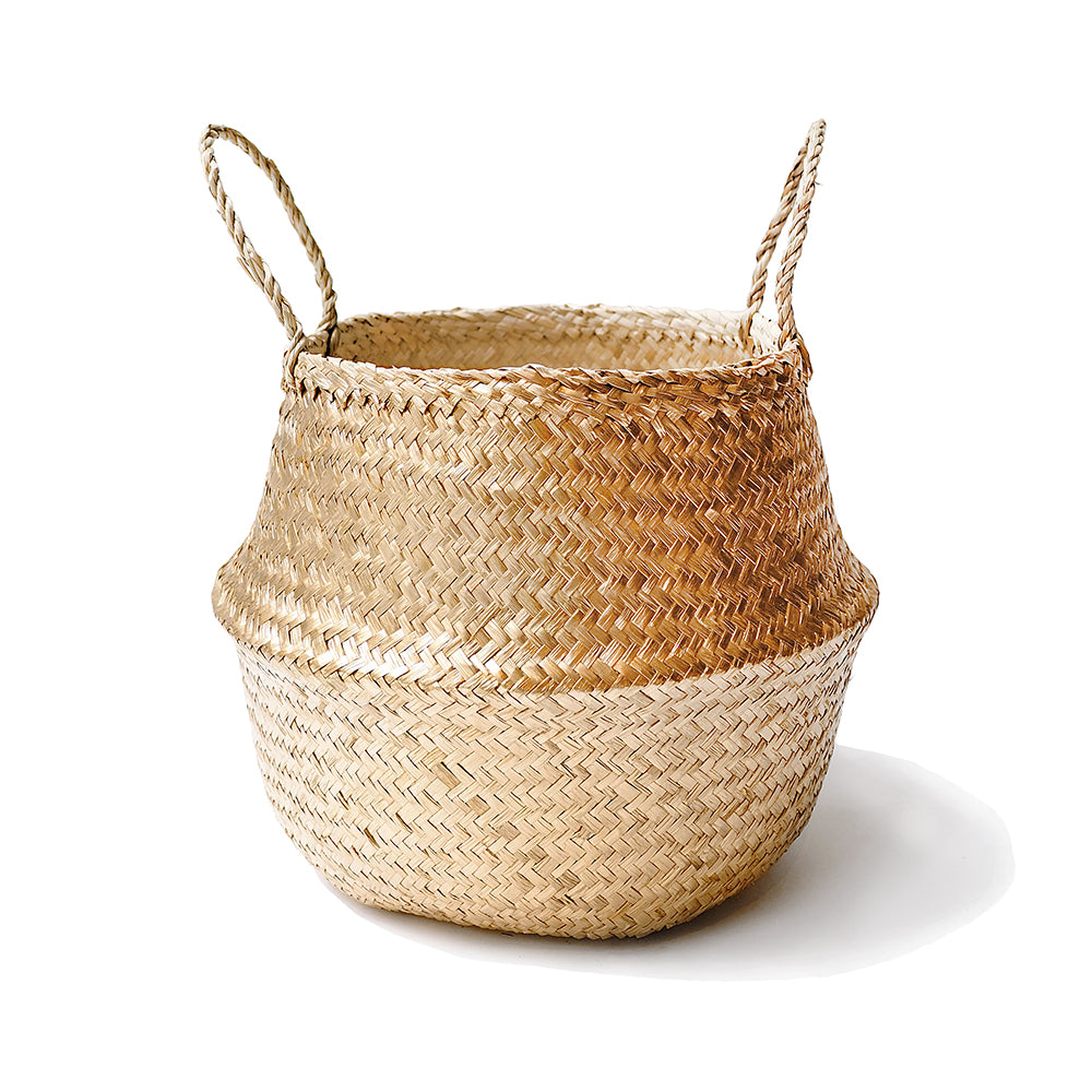 Handmade decoration golden seagrass basket from Vietnam