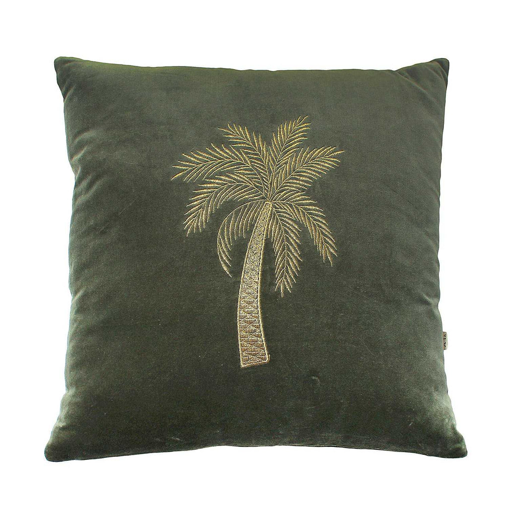 Cute green velvet cushion with a golden palm tree embroidery on it, definitely spice up your sofa in your living room