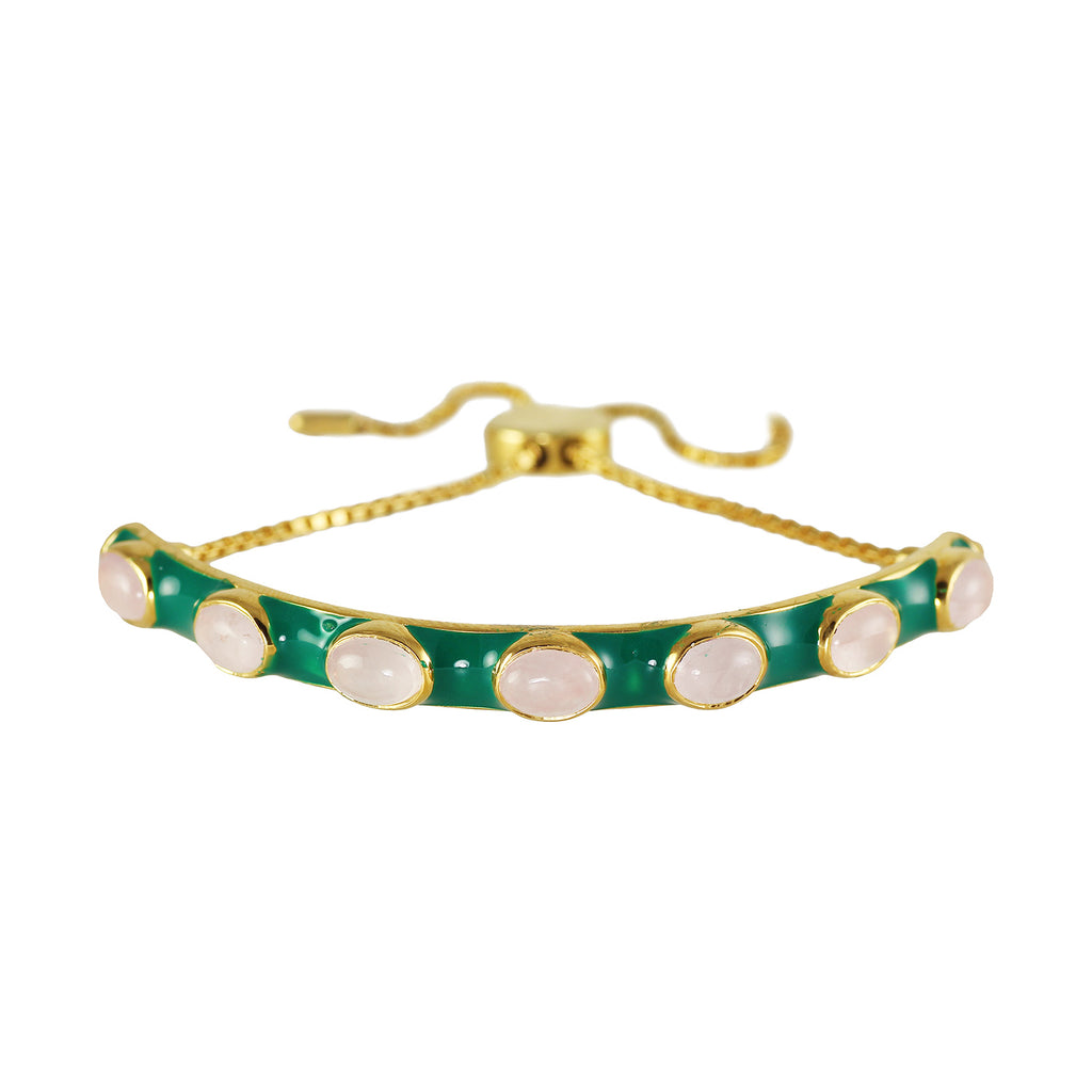Green enamel and rose quartz stones make this bracelet a standout addition to any stack.  Lovely contrasting colours.