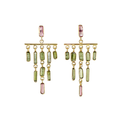 Green and pink tourmaline stones set to create this dramatic chandelier formation.  The tourmalines are raw but and their natural colours are beautifully displayed.