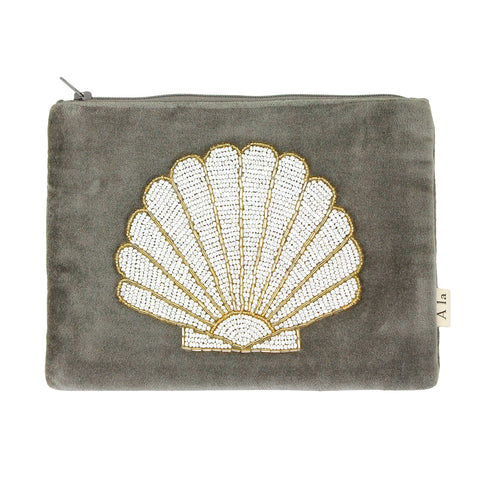 Green velvet shell pouch wallet clutch made with cotton velvet and glass beads, made in india