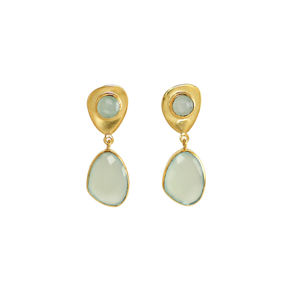 sliver gold plated earrings with green prehnite pastel stone made in india