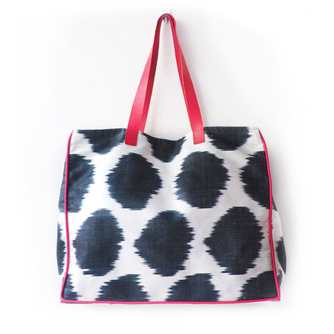 Black Polka Ikat Bag