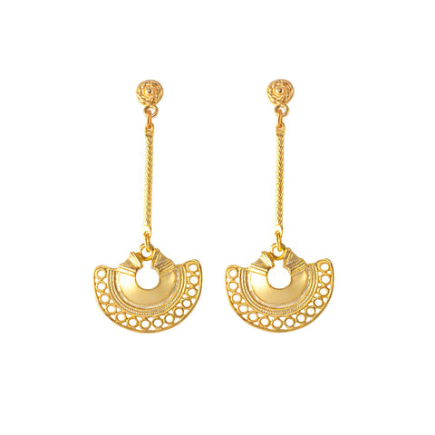 These earrings are a reproduction of pre-colombian jewellery found in the Americas before the Spanish Conquistadors came. These shapes in their original incarnation were nose rings.