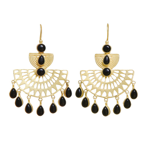sliver gold plated earrings with black onyx from Bohème, a brand now based in Singapore. The best party dressing investment.
