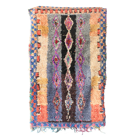 Lilac & Orange Boucherouite Rug