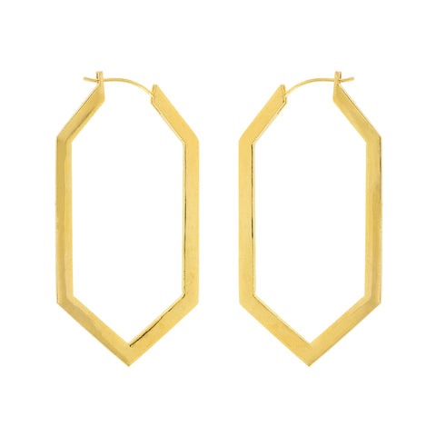 Golden earring hoops with 18 cart gold plated brass from Tay Jewellery