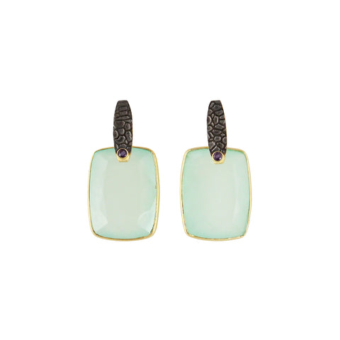 oxidised gun finish earrings with sliver gold plated green pastel chalcedony and small red onyx made in india