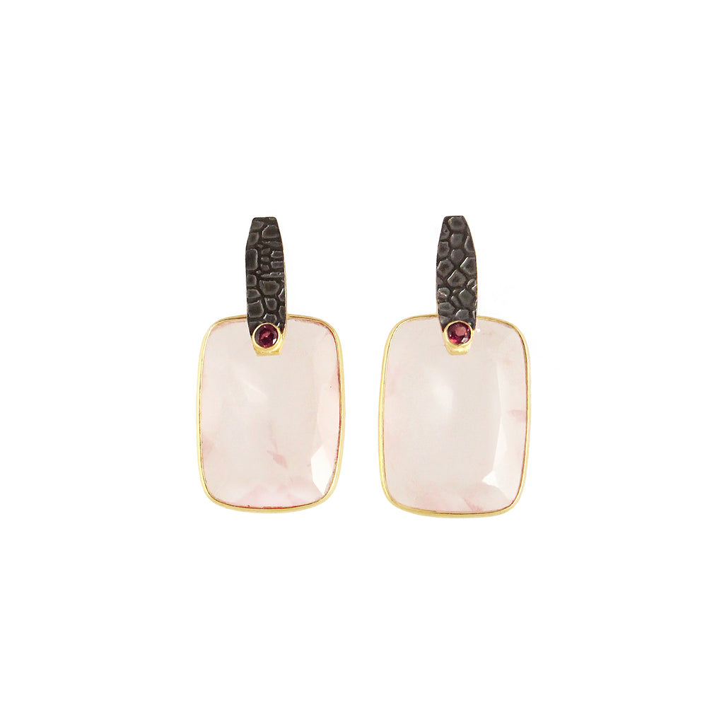 oxidised gun finish earrings with sliver gold plated pink pastel rose quartz stone and small red onyx made in india
