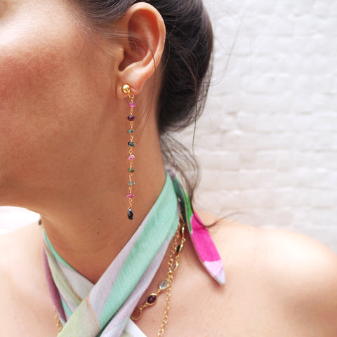 sliver gold plated long earrings with colourful tourmalines made in india