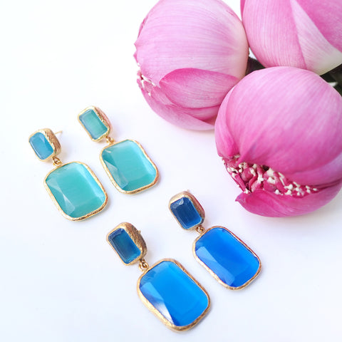 silver gold plated earrings with blue agate stones, made in Turkey