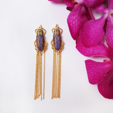 sliver gold plated beetles scarab earrings with colourful CUBIC ZIRCONIA gems stone and tassel from Hong Kong