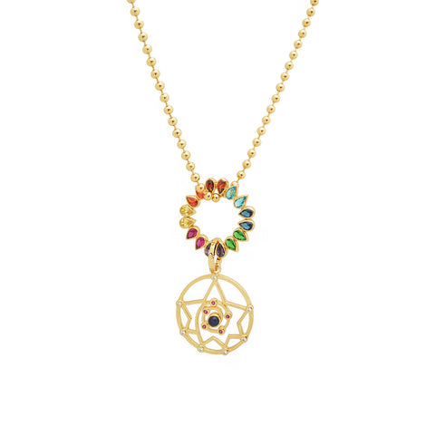 MYSTICAL GRID NECKLACE WITH CHAKRA WHEEL