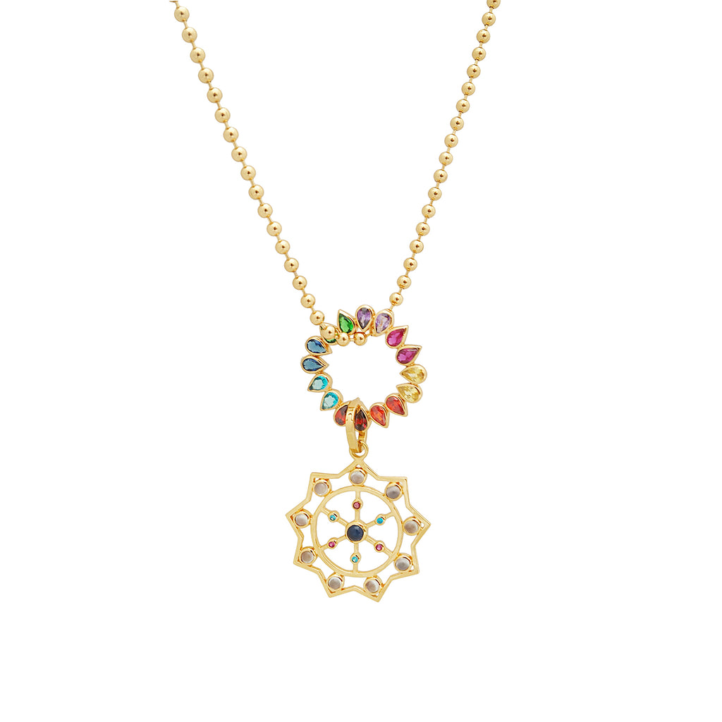 KARMA GRID NECKLACE WITH CHAKRA WHEEL