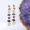 sliver gold plated long earrings with colourful tourmalines, peridots, rock crystal, amethystsand made in india