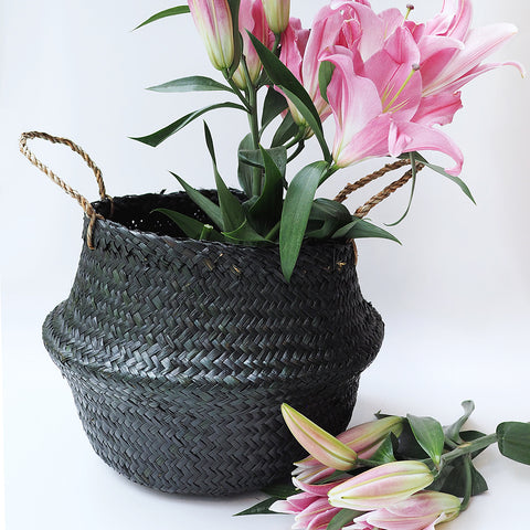 Handmade decoration black seagrass basket from Vietnam fold up