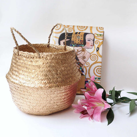 Handmade decoration golden seagrass basket from Vietnam fold up