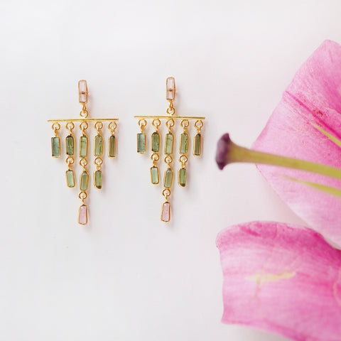 Tourmaline Chandelier Earrings