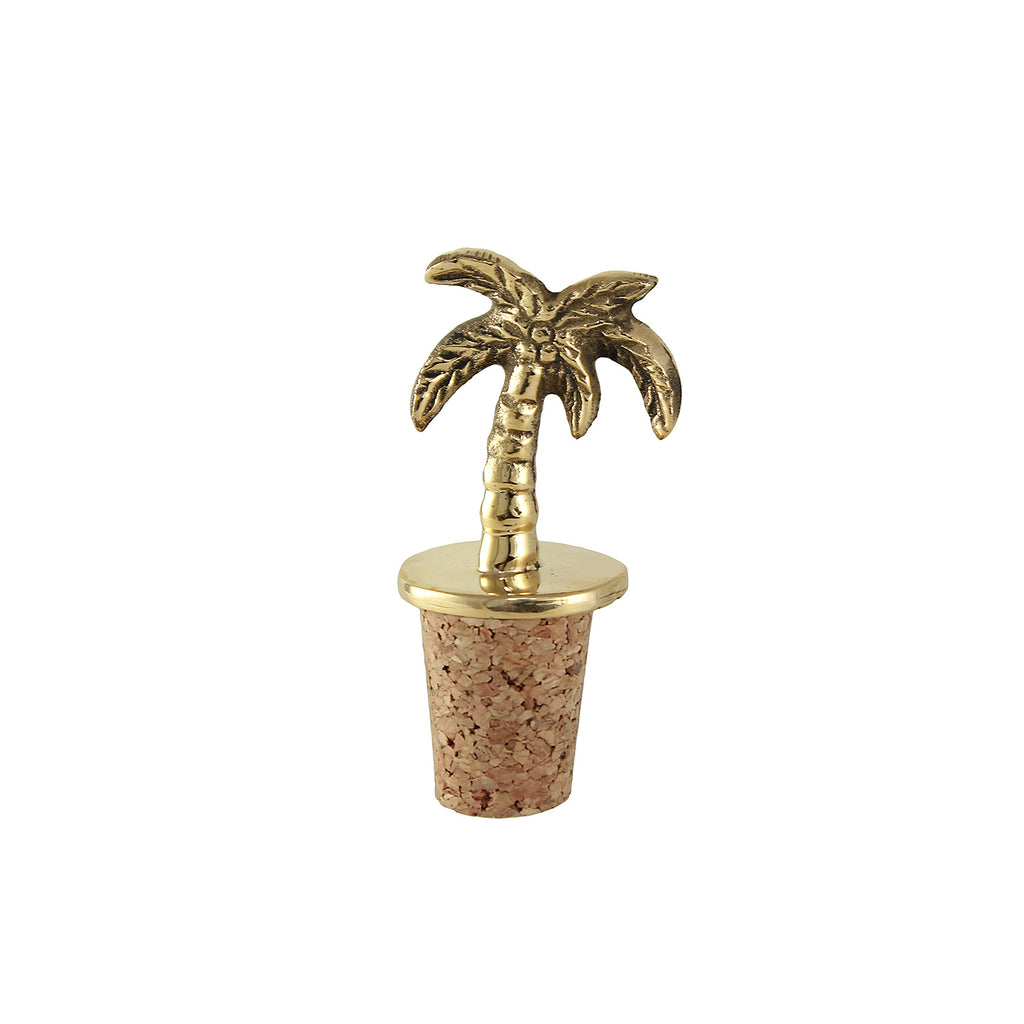 This cute little golden brass palm tree bottle stopper for you wine bottles