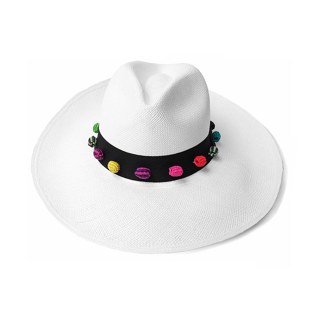 4ed9c0eb9e7f41 White Panama Hat with colourful weave pom pom beads great for summer