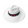 White Panama Hat with colourful weave pom pom beads great for summer
