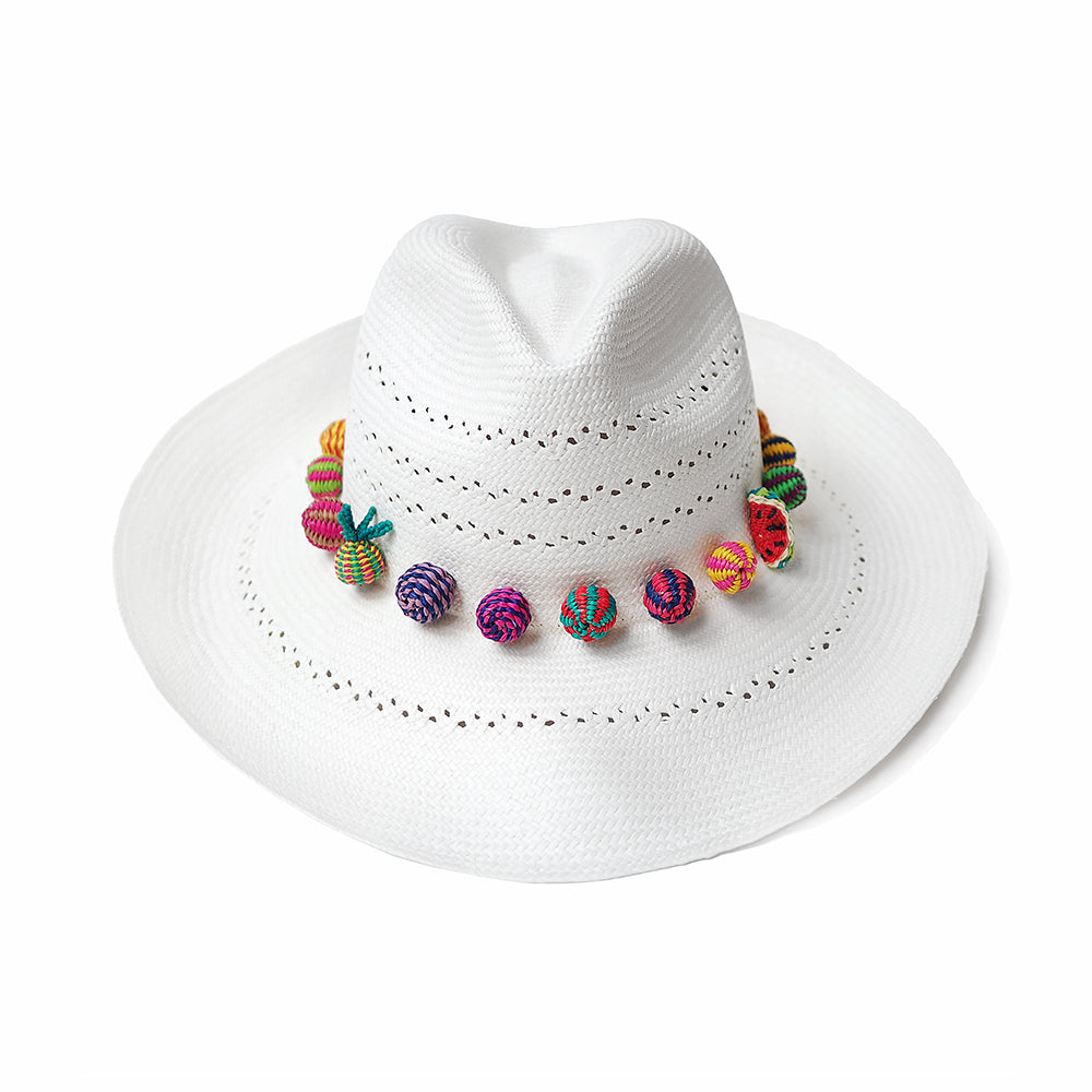 White Panama Hat with colourful weave beads and fruits great for summer