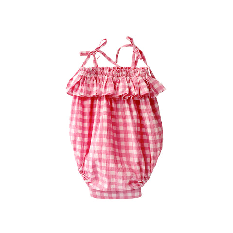 A cute baby romper in pink check print. Ideal for those hot summer days.