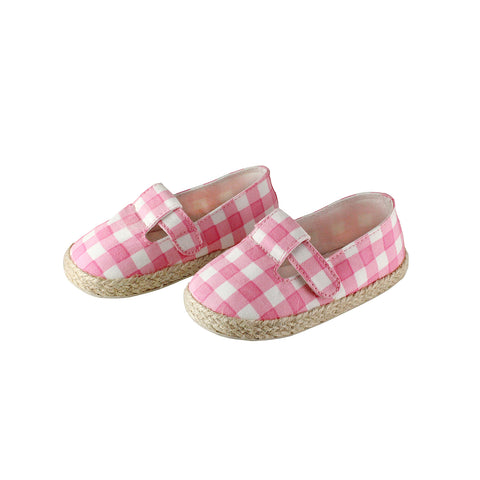 The best summer shoes for kids out there. Mini espadrilles with in a pink check print.