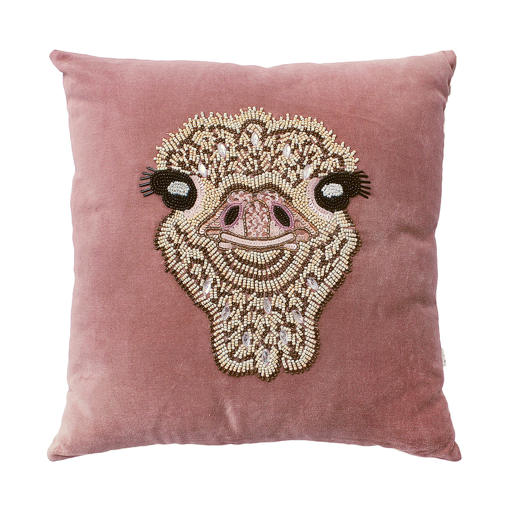 Cute pink velvey cushion with a lovely beaded ostrish on it, definitely spice up your sofa in your living room