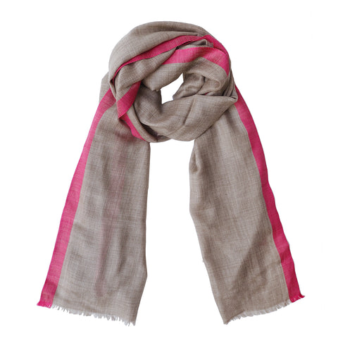 pink edge fringe scarf made of wool pashmina in India