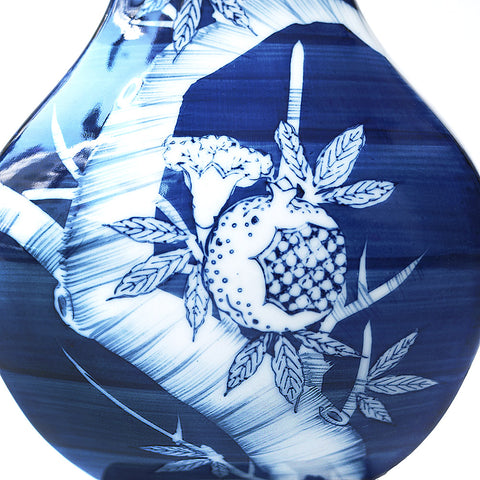 Japanese hand made ceramic Blue Pomegranate Ginger Jar