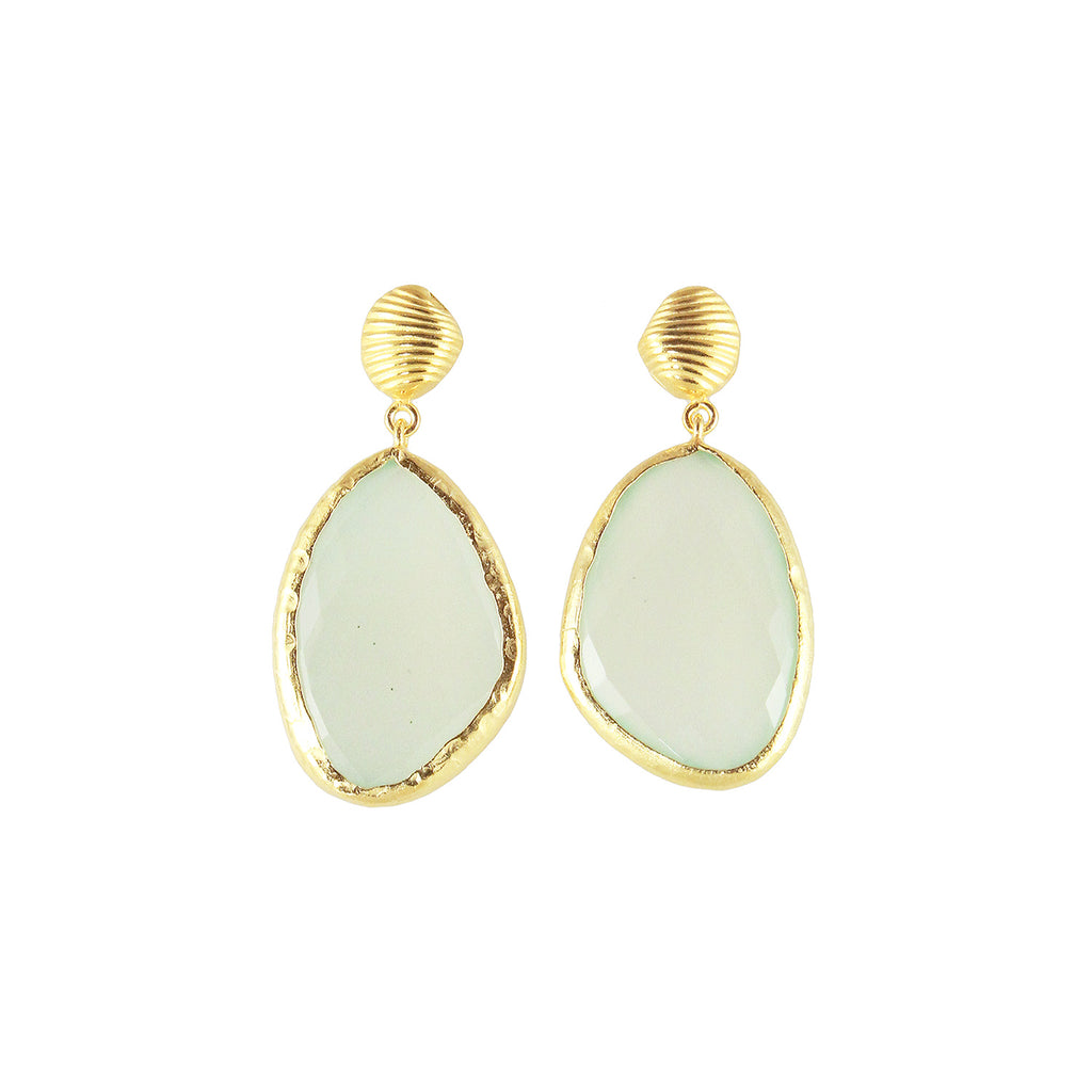 sliver gold plated shell earrings with green pastel chalcedony stone made in india perfect for summer