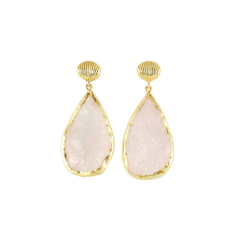 sliver gold plated shell earrings with pink pastel rose quartz stone made in india perfect for summer