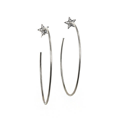 Silver Star Hoop Earrings