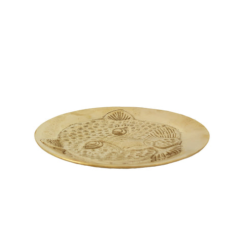 This golden brass leopard head bowl/ plate perfect to show your jewellery or coins