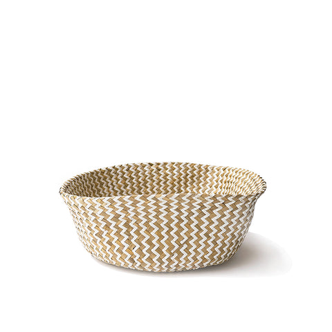 Handmade decoration white with pattern seagrass basket from Vietnam fold up