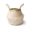 Handmade decoration white with pattern seagrass basket from Vietnam