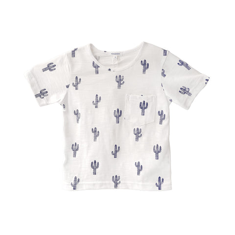 A round neck cactus print t-shirt with short sleeves and front chest pocket.