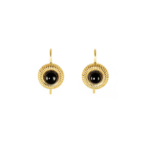 Golden brass earrings with black onyx rock stone, plated with 18 cart gold from Tay jewellery