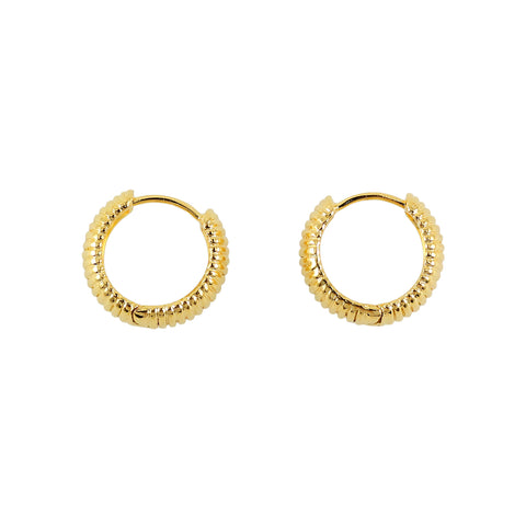 Golden earrings hoops crafted in 18 cart gold plated brass by Tay jewellery
