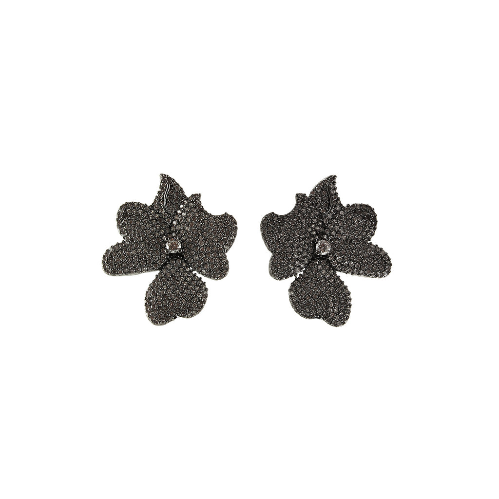 sliver flower earrings with white cubic zircon stone made in turkey perfect for evening event