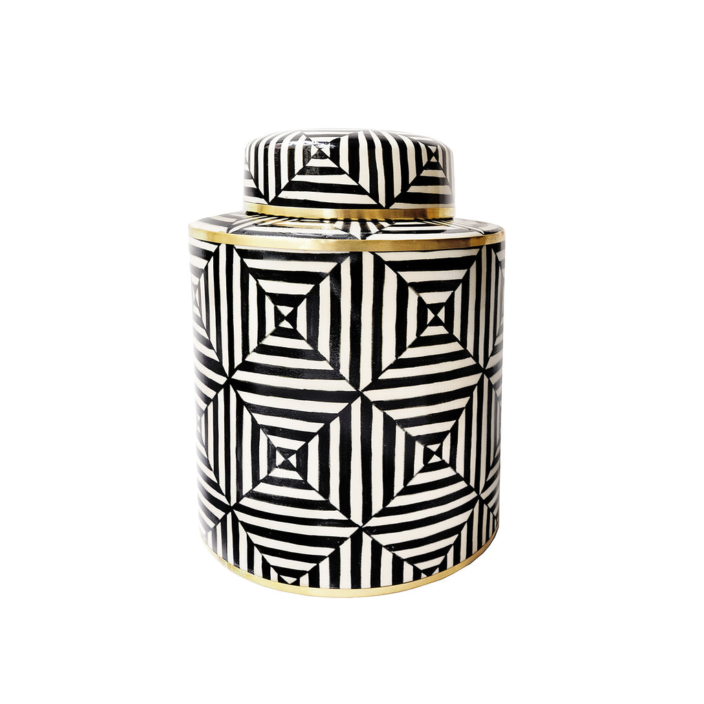 Striking geometric shapes and bass detailing make this small jar a great little decorative addition to your household.  A great little vase as well.  Hand painted in Thailand