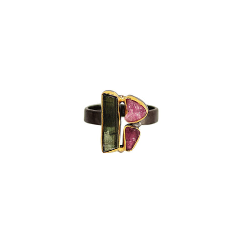 sliver gold plated gun finish ring with red green tourmaline stones from india