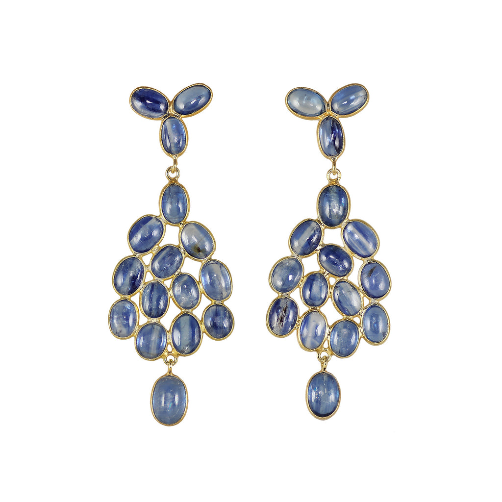 Beautiful blue coloured kyanite cabochon drop gold plated earrings.  If blue is your favourite colours these earrings are for you.