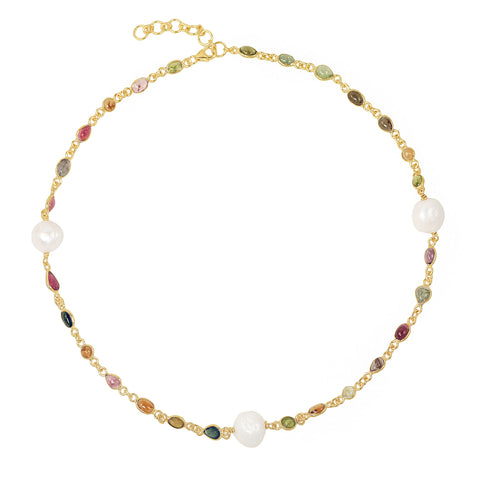sliver gold plated Kashish Necklace with colourful stones, tourmaline, smokey topaz, blue topaz, amethyst and pearls