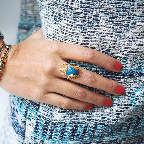 Blue Scarab Ring
