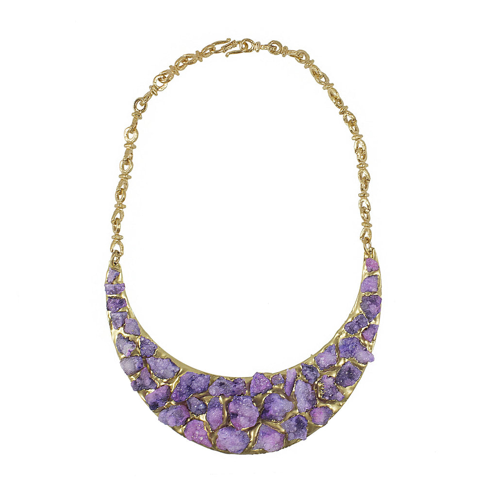 Purple Druzy Necklace