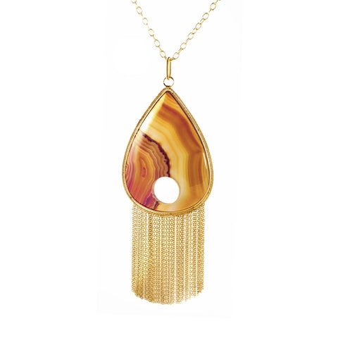 Brown agate tear drop pendant on gold plated chain made in hong kong