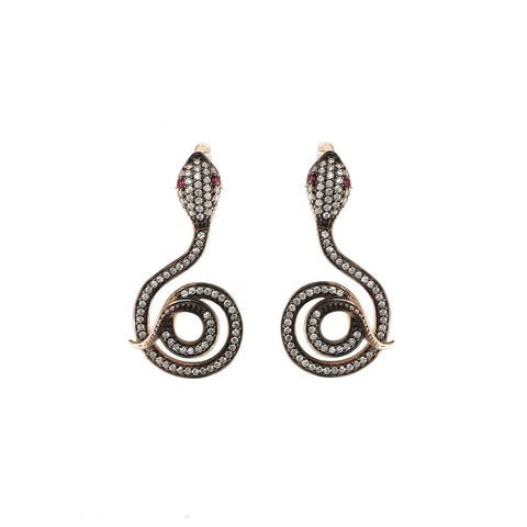 Rose Snake Earrings
